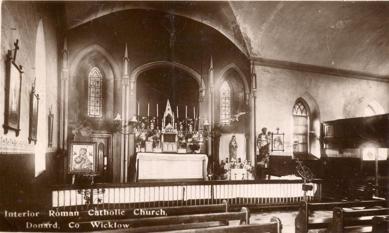 Interior old RC Church, on the site of current Community Hall,  Donard.   | Photo Donard/Imaal History Group copyright