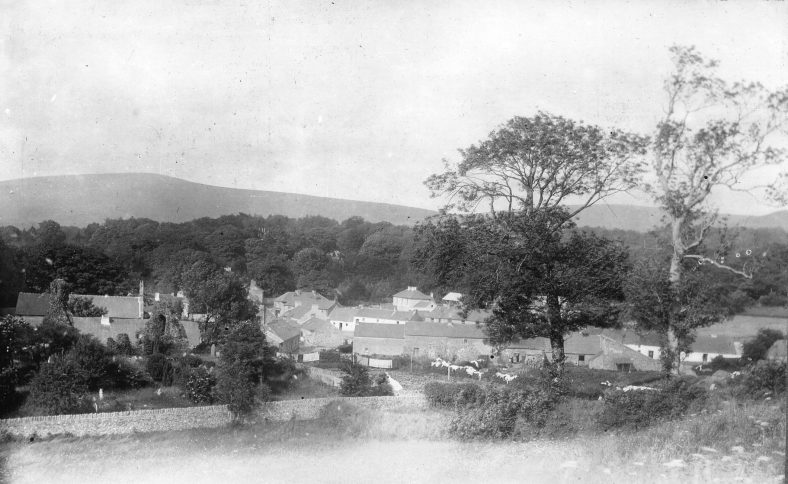 View of Donard village from the Ball Moate.  Top of old RC church is on left.   | Photo Donard/Imaal History Group copyright