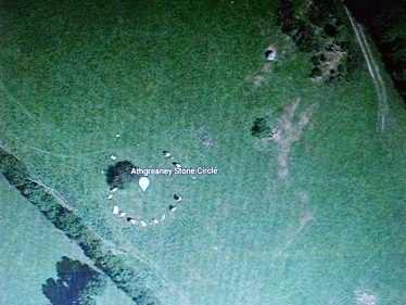 Piper Stones (Athreaney Stone Circle) showing the single Piper Stone top right | Google Earth