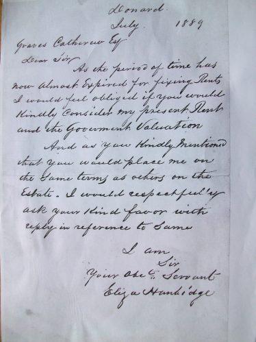 Letter by Eliza Hanbidge, 1889 | Eric Hanbidge C 2020