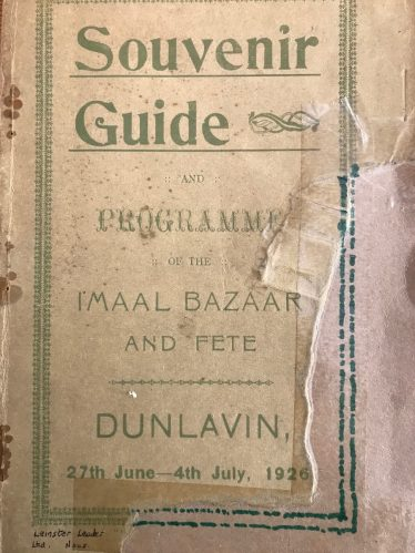 Cover of the souvenir programme for the Imaal Bazaar held in 1926 | Courtesy of Chris Lawlor