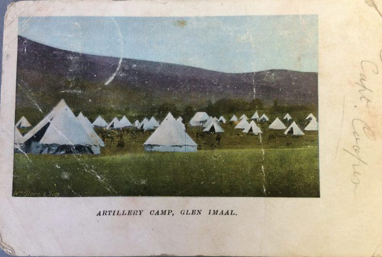 Postcard featuring Artillery Camp