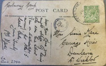 Reverse side of postcard featuring artillery practice Glen of Imaal | National Library of Ireland ex.ms.15,551