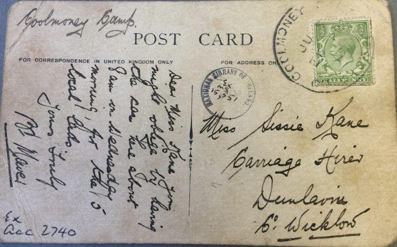 Reverse side of postcard featuring artillery practice Glen of Imaal