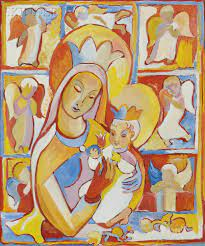 Madonna and child, an impressionist painting by Fr. Jack Hanlon.