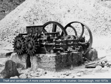 A more complete Cornish Rolls Crusher, Glendalough, mid 1970s before theft and vandalism | Martin Critchley