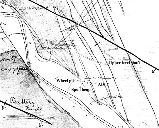 An enlargement of the c 1865 Geological Survey of Ireland 6 inch to 1 mile scale field sheet showing the principal features of the Ballinafunshoge Mine   Martin Critchley