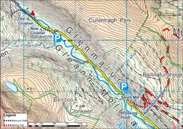 Map of Glenmalure Valley