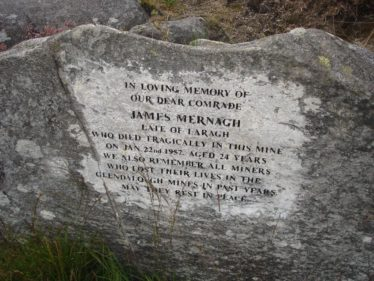 Memorial stone erected to the memory of Jim Mernagh who died tragically in the mines on 22 January 1957 | Joan Kavanagh