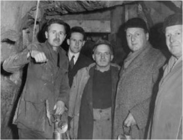 Pictured at the mines at Glendasan Mr O'Riordan, John Steel (Mine Captain), Mr Clarke, and Mr Tipping, 1951 | Graham Wynne