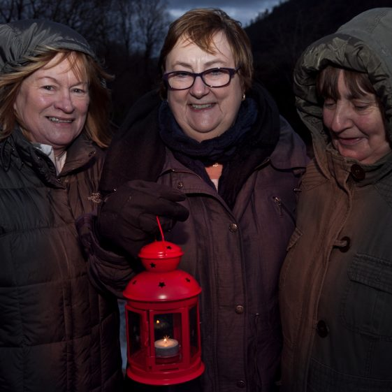 Ann Dowling, Marian O'Neill and Trish Carter pictured in Baravore car park Glenmalure, at the start of '100 Lights Walk'  | Paul Messitt