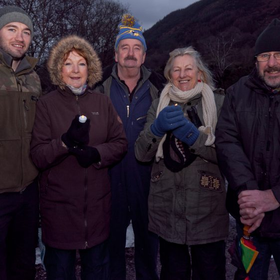 Danny Dowling, Shelia Cullen, Paddy Dowling, Mary Keogh and Mick Cullen pictured in Baravore car park Glenmalure, at the start of '100 lights Walk'  | Paul Messitt