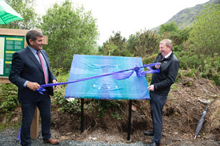 Minister Andrew Doyle TD and Deputy Pat Casey TD unveiling the Miners' Way Information Panel at Barvore | Joe Haughton