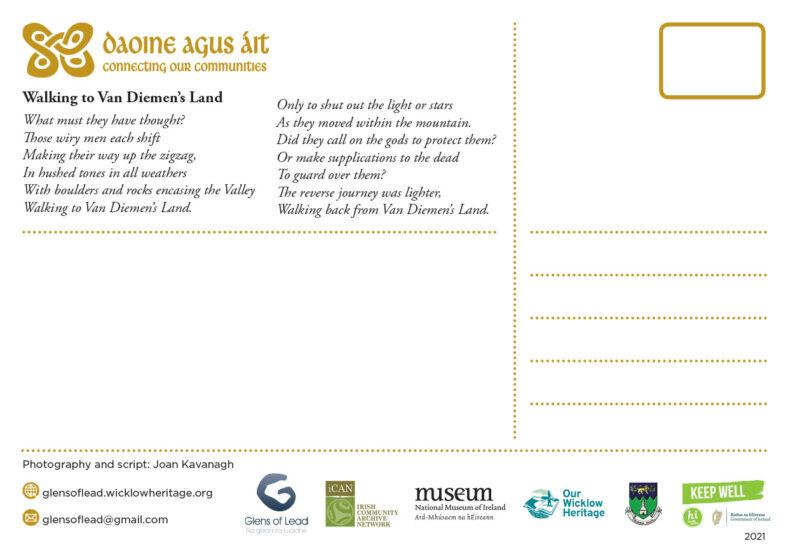 Daoine agus Áit Connecting our Communities Postcard Project reverse - Glens of Lead | Joan Kavanagh