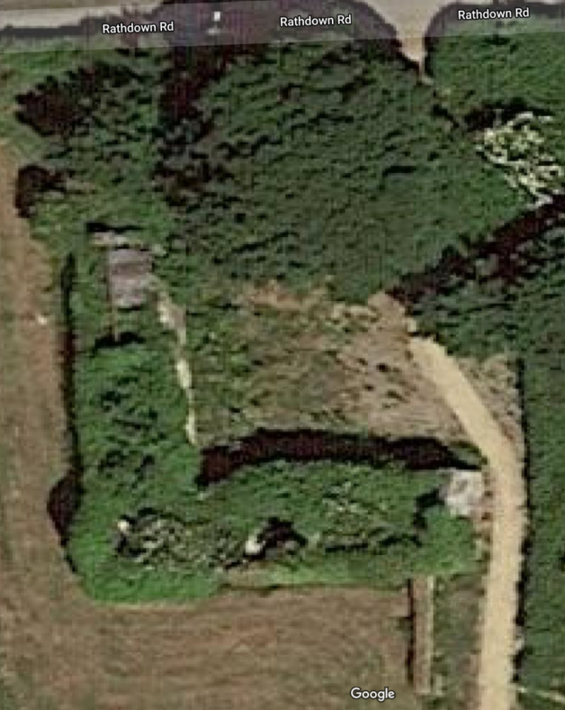 The Present : Tarrant's farmhouse from the air, showing courtyard and extent of ivy problem. | Courtesy of Ejvind Mogensen