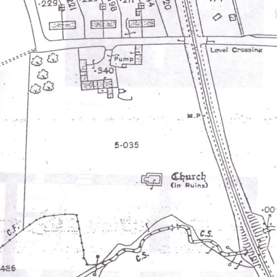 Old map showing location of Heritage Park, Church (Cell), and Captain Tarrant's farmhouse with outbuildings