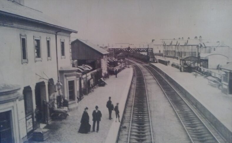 Main platform - Greystones Railway station | Another Pictorial History of Greystones, 1870-1900, A collection of old photographs compiled by Derek Paine, Martello Press, 1994, page 128.