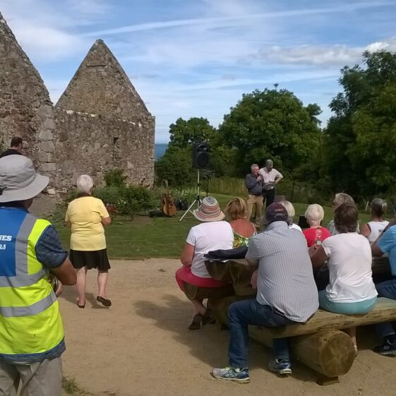 New seating coming in useful as Heritage Week speakers Colin Love and Brian White engage the community with the fascinating history of Rathdown | Image by Dave O'Reilly