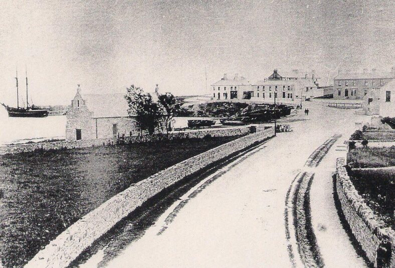Early Greystones, very little development along sea front. Lifeboat house in foreground.   Pictorial History of Greystones, 1855-1955, A collection of old photographs, compiled by Derek Paine, Martello Press, 1993, page 112.