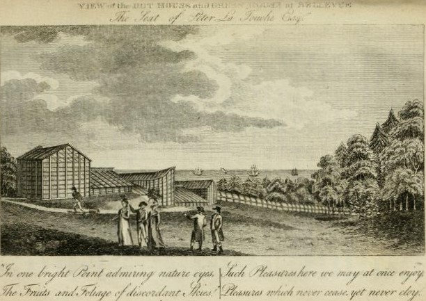 The greenhouses at Bellevue. | A view of ancient and modern Dublin, with its improvements to the year 1796. To which is added a tour to Bellevue, in the county of Wicklow, the seat of Peter La Touche Esq., John Ferrar, Dublin 1796.
