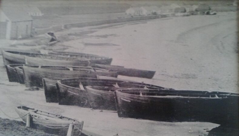 Bygone days  - fishing boats at the old harbour.   Pictorial History of Greystones, 1855-1955, A collection of old photographs, compiled by Derek Paine, Martello Press 1993, page 102.