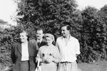 Oonagh Giltsoff (far left), her husband Bayan (far right) and friends at Kilquade, 1950s | Courtesy of Oonagh's son Rurik Bayan