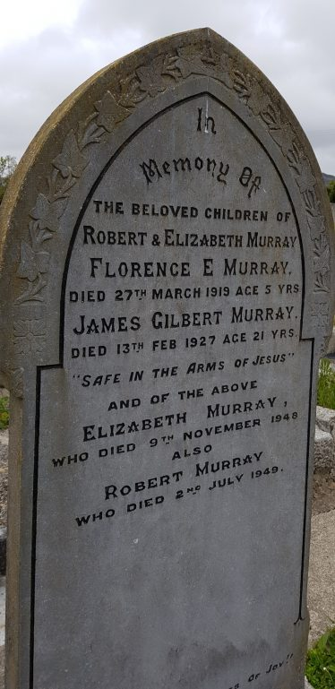 Headstone of Florence Murray (5), one of the child victims of influenza, Old Redford Graveyard, Greystones. | Courtesy of Rosemary Raughter