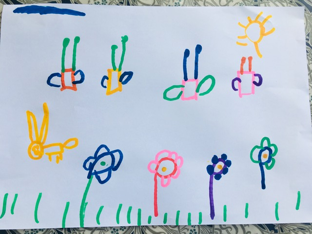 Butterflies, flowers and rabbit | Joe - Age 5