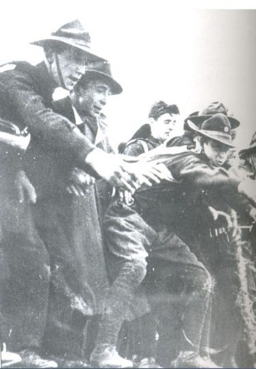 James Kavanagh from Templerainey, extreme left, helping to land guns from the Asgard at Howth, 26th July 1914. | Jim Rees