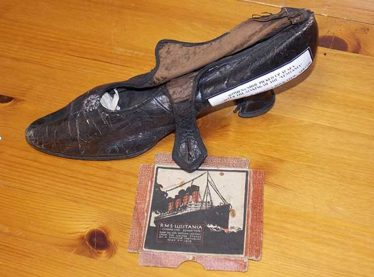 Shoe found in the nets of James Hagan's steam drifter Dan O'Connell a few days after the sinking of the Lusitania, having been left behind by a survivor only too relieved to reach dry land.  (Catalogue number 119: Arklow Maritime Museum) | Image: Courtesy of Arklow Maritime Museum