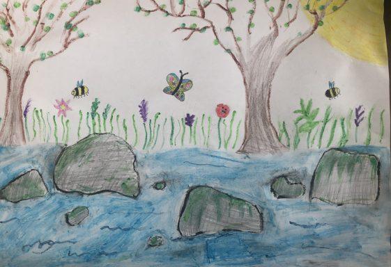 Mia's river walk drawing