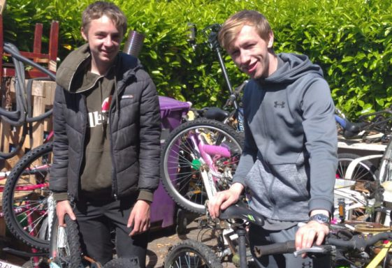 Shane and Rhys fix bikes - keeping them sane and the neighbouring kids happy
