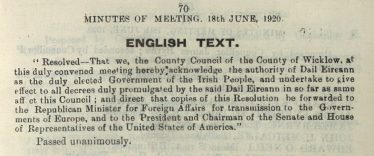 Excerpt from Wicklow County Council Minute Book 18th June 1920 - oath of loyalty to the new Dail Eireann following landslide Sinn Fein victory in the 1920 local elections. | Image: Courtesy of Wicklow County Archives