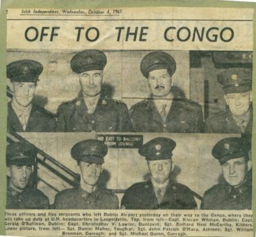 Soldiers on their way to the Congo 1961, including Christopher V. Lawlor of Dunlavin. | Irish Independent, 4 October 1961