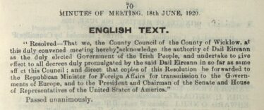 Extract from Wicklow County Council minute book, 18th June, 1920. | Source: Wicklow County Archives