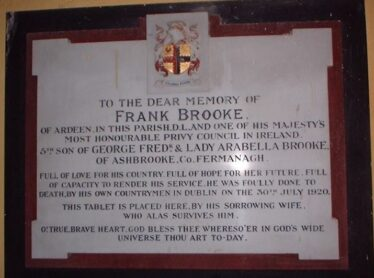 Commemorative tablet in the church. Presented by Frank Brooke's widow. | Photo: Jerry Cassidy