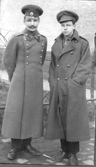 G.B.Somerville  (Pat), pictured on right, with Russian Officer at Crefeld POW camp. | Photo: Courtesy of Mr. Bill Somerville