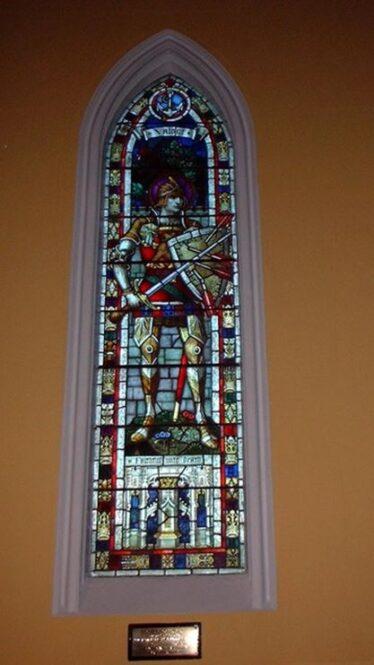 Stained glass window in Shillelagh Church to the memory of Frank Brooke. Presented by the Fitzwilliam family | Photo: Jerry Cassidy
