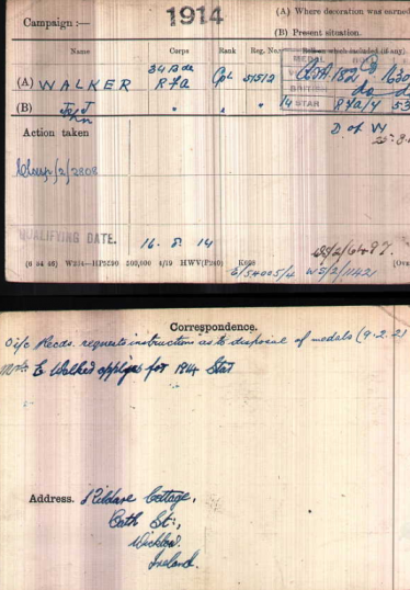 British Army WWI Medal Rolls Index Cards 1914-1920: John James Walker 1893-1914 | Source: https://www.nationalarchives.gov.uk/help-with-your-research/research-guides/british-army-medal-index-cards-1914-1920