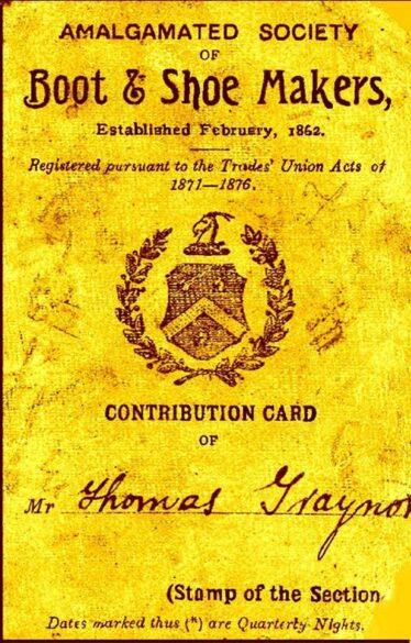 Boot & Shoemakers Union card of Thomas Traynor. | Photo: Maura Gibson
