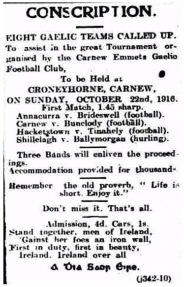 'Wicklow People' advertisement for the 1916 football tournament. World War 1 was in progress. The wise boys in the Emmets club were having their own take on 'Conscription'. | Wicklow People newspaper, 7th October 1916