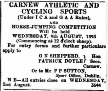 Advert for Carnew sports day 1893 - the Coollattin administration were courting the favour of the locals by holding the event under the rules of the ICA and GAA | Wicklow People newspaper 29th July 1893