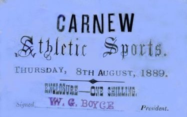 Admission ticket to Carnew Athletic Sports event, 8th August 1889 | Courtesy of Kevin Lee