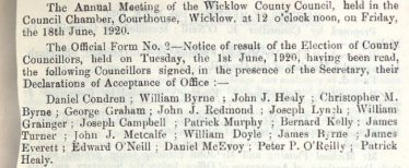 Excerpt from the Minute Book of Wicklow County Council 18th June 1920 - listing successful candidates in the 1920 Local Elections | Courtesy of Wicklow County Archives