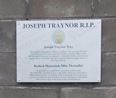 Plaque marking Joseph Traynor Way. | Photo: Maura Murphy Gibson.