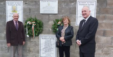 Michael Nelson, Maura Murphy Gibson, Nial Ring at unveiling of plaque. | Photo: Maura Murphy Gibson