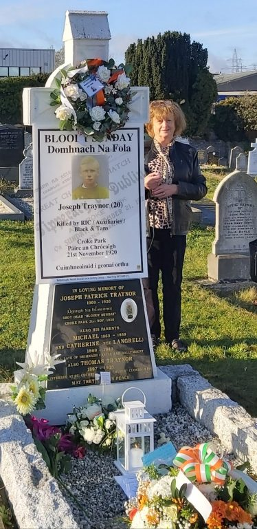Maura Murphy Gibson at Joseph Traynor Grave. | Photo: Maura Murphy Gibson