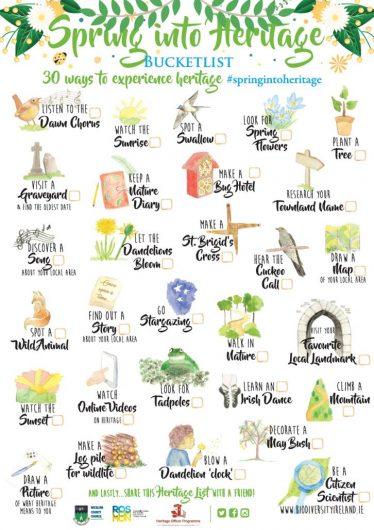 Spring Heritage Bucket List - download below or request hard copies (bi- lingual) | Heritage Office Wicklow County Council