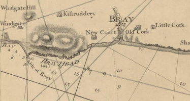 Fig. 2 Dargle River, Bray, Co. Wicklow where St Patrick is thought to have landed in 432AD. Extract taken from early Admiralty Chart of the East Coast of Ireland.