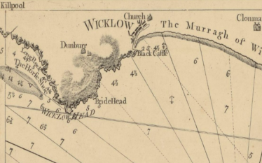 Fig. 1 Mouth of the Vartry River at Wicklow Harbour. Extract taken from early Admiralty Chart of the East Coast of Ireland.